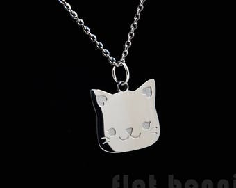 Cute cat necklace, Cat charm, Cat jewelry, Cute animal lover gift, Cat memorial touchstone gift, Stainless steel, Kawaii Japan, Flat Bonnie