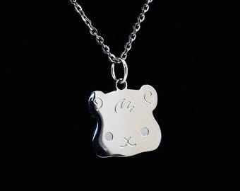 Guinea Pig charm necklace, Guinea Pig gift, Guinea Pig jewelry, Cute animal lover gift, Cavy, Stainless steel, Kawaii Japan, Flat Bonnie