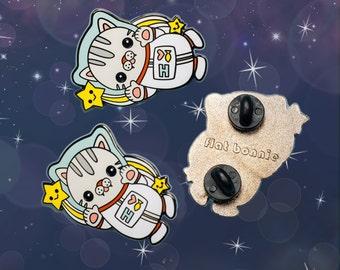 Cat Enamel Pin Space Backpack Kawaii Hard Jacket Cute Animal Jewelry Lover Gift Kitty Lapel Flat Bonnie