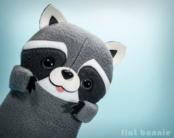 Kawaii Raccoon stuffed animal toy, Handmade plush doll, Cute soft toy bandit, Trash panda stuffy, Wildlife decor gift, Flat Bonnie, Racoon