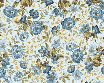 English Countryside Fabric 9168-N Floral Flowers on Navy Premium Cotton Maywood
