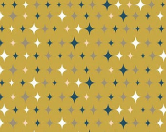 Twinkle Yellow Stars Hearts Bedtime Gold Star Fabric Printed by Spoonflower BTY
