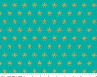 Just Sayin - Teal Star Sparkle from Riley Blake