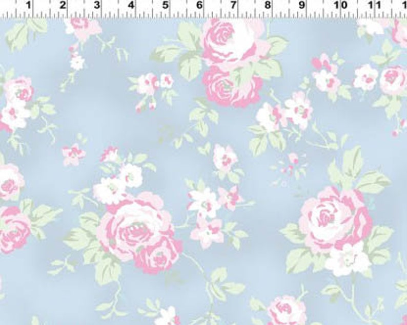 Madeline Roses Toss Blue from Clothworks