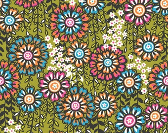 SALE - Global Bazaar Swinging Blossoms Green - Cotton Print Fabric from Blend Fabrics