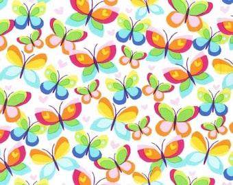 Hearts AFlutter - Multi Butterflies from Michael Miller