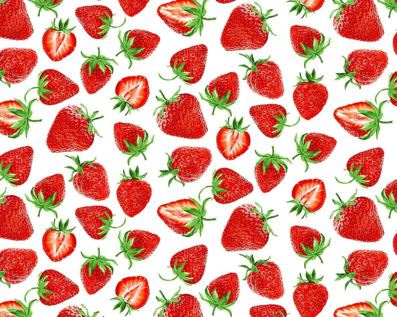 Strawberry Festival White by  Kanvas Studio from Benartex Fabrics Strawberry Fields Forever