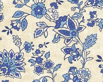 American Folk - Blue Cream Floral by Jennifer Brinley from Studio E