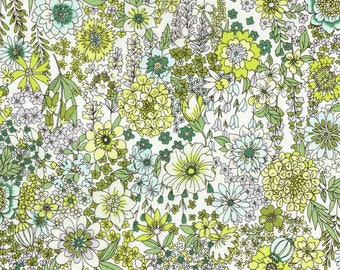 Memoire a Paris LAWN - Floral Green Yellow from Lecien Fabric