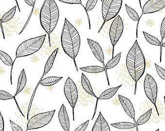 Sale - Blooms - White Toss Leaves by Anne Bollman from Clothworks