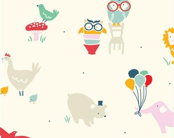 SALE - Everyday Party - Everyday Animals - Organic Cotton Print from Birch Organic Fabric
