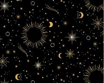 Orbit - Sun Moon and Star Black Metallic by Whistler Studios from Windham Fabrics