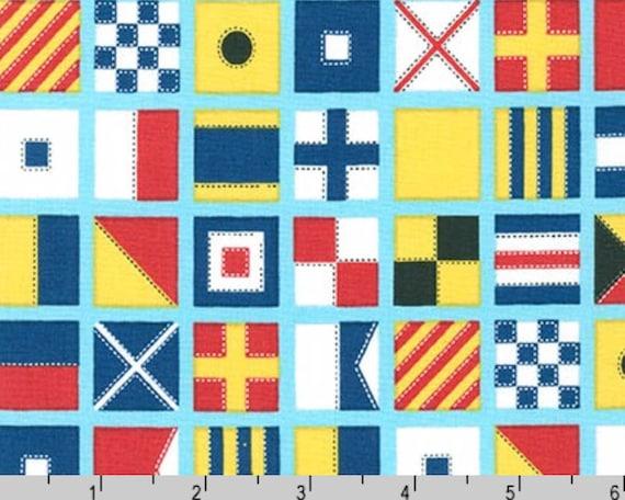 Nautical Fabric Ships Ahoy Sailing Flags on Aqua Benartex YARD