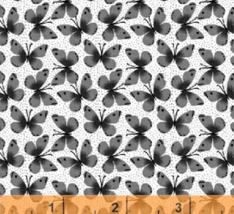 Kitty Kitty Mini Butterflies Grey on White by Whistler Studios  from Windham Fabrics