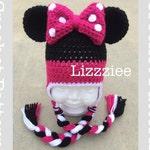 Minnie Mouse Crochet Pattern PDF - fun to make for Disneyland Disneyworld trip - beanie, earflap, braids - Instant Digital Download