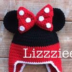 Minnie Mouse Stripe Crochet Beanie PDF Pattern - fun to make for Disneyland Disneyworld - beanie, earflap, braids - Instant Digital Download