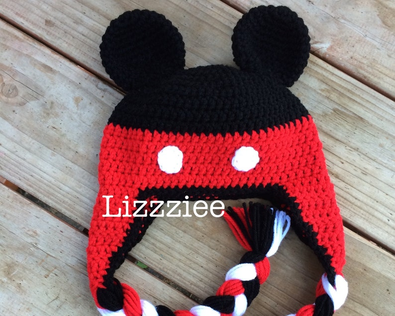 f43893fc2e6 PDF Mickey Mouse Crochet Hat Pattern Instructions to make a