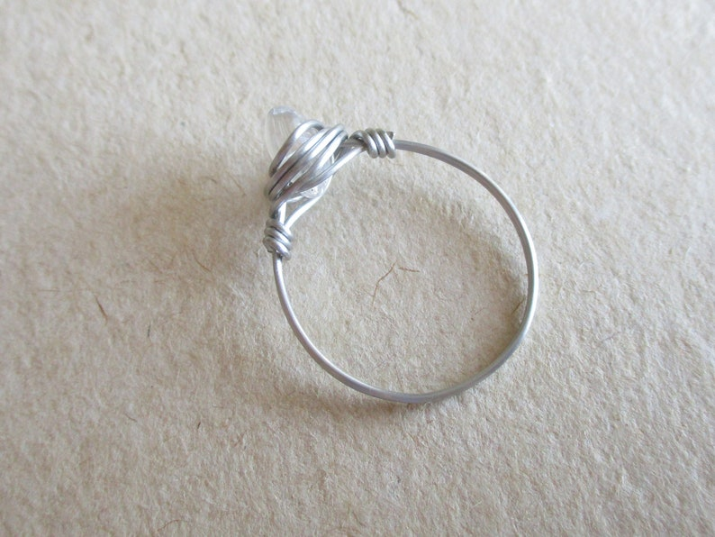 stainless steel wire wire wrapped ring size 6 34 chip bead Clear rock crystal quartz gemstone ring