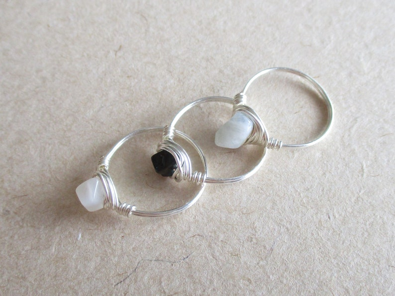 size 4 14 chip bead Moonstone tourmaline set of 3 amazonite gemstone silver copper wire wire wrapped rings