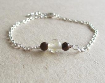 Citrine tiger iron gemstone minimalist bracelet