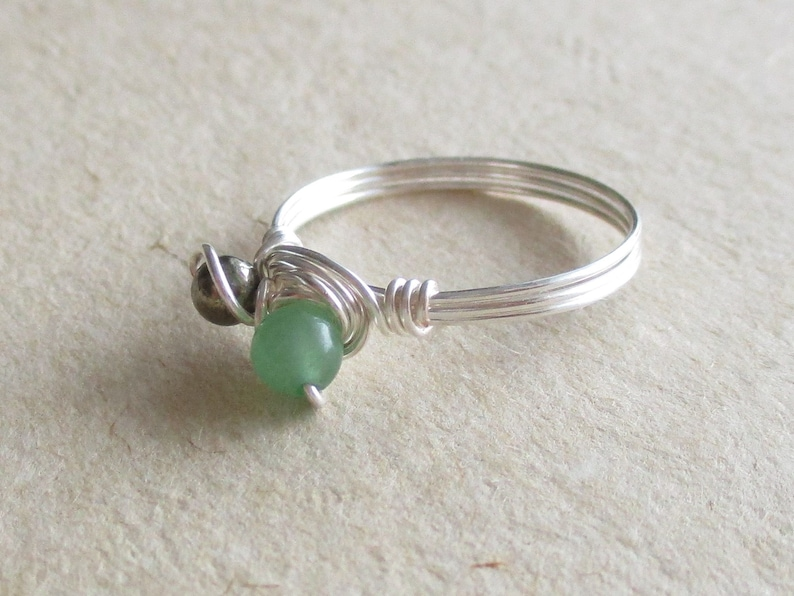size 6 12 jade duet ring gemstone wire wrapped Pyrite