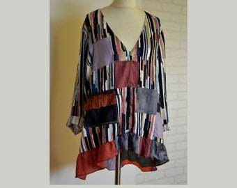 S M L Tan black Upcycled tie vest tunic woven back custom sized recycled neckties top
