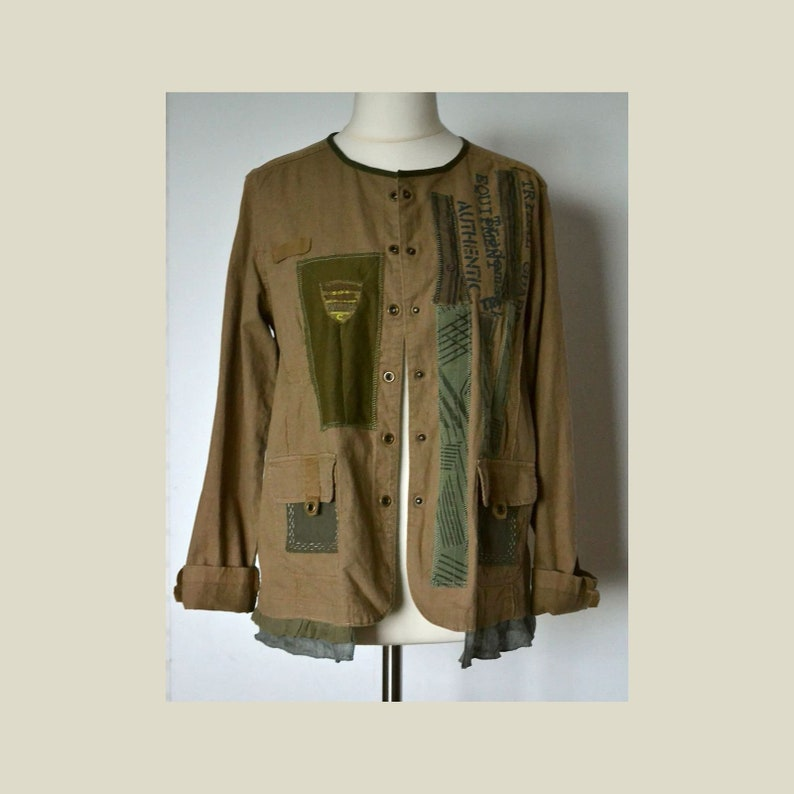 best cheap c7a29 4d331 Khaki Jacke Damen, Frühjahr Jacke, Upcycled Kleidung, Jacke mit Taschen,  Jacke Größe XL, Recycling Jacke, Leinen-Jacke
