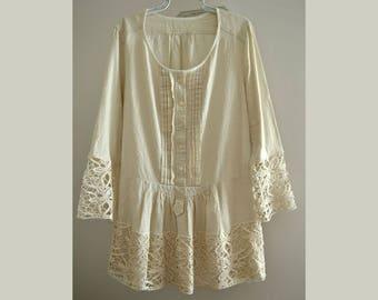 Women's elegant dress, ecru cotton dress, lace dress, boho dress, upcycled clothing, shabby, dress sleeves size L, loose comfortable dress