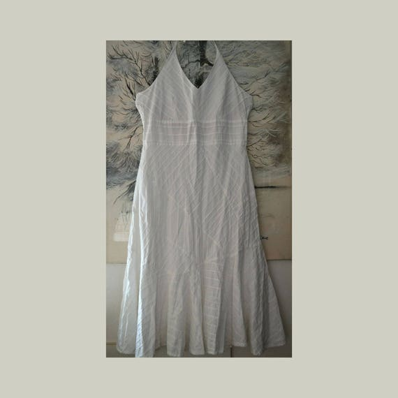 White summer dress, vintage dress sleeveless, wome