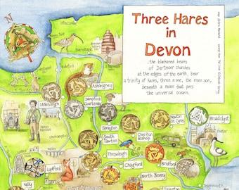 Three Hares Map of Devon, set of 6 postcards