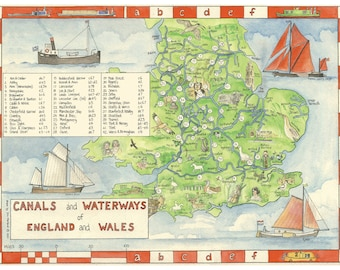 Canals and Waterways of England and Wales, map, A4