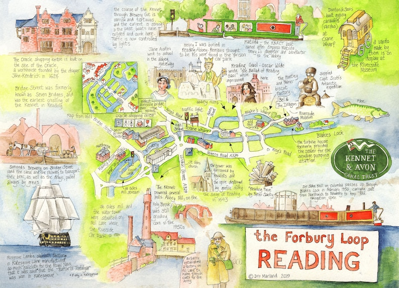 Canal Map Forbury Loop Reading large map A3 size image 0