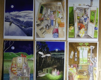 set of canal themed postcards