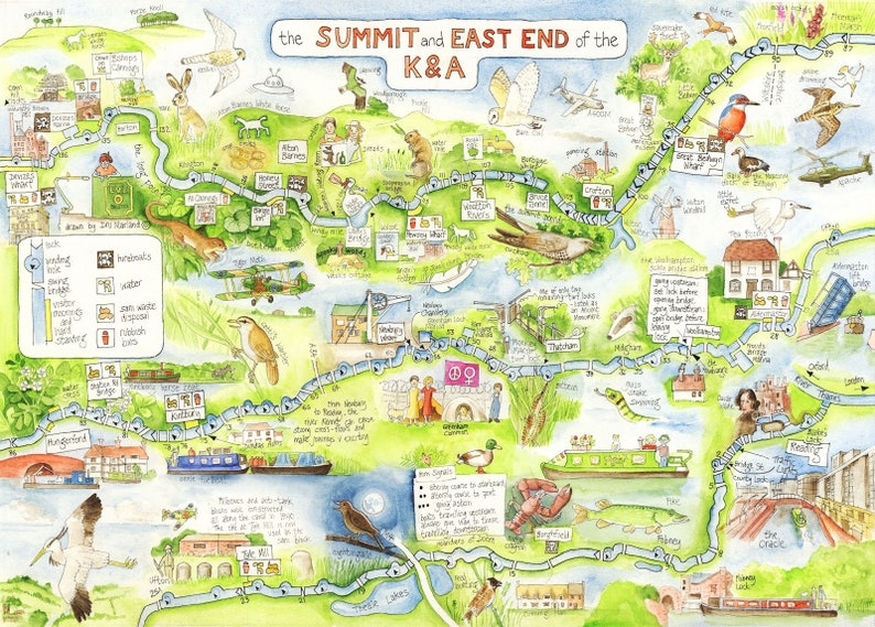 Canal Map Kennet and Avon Summit and East End A4 image 0