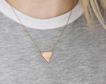 Copper Textured Triangle Necklace - Modern Handmade Jewellery
