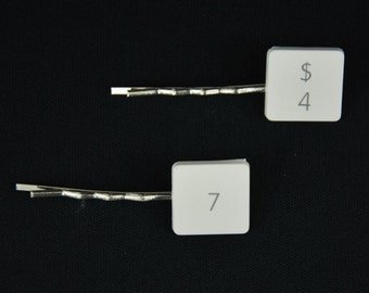 keboard key Hair clip Jewelry Miniblings Computer number Numeral Upcycling