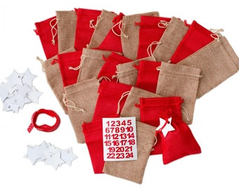 Miniblings DIY Advent Calender Set 25 Jute Bags Numbers Stars and Band - German Germany Adventskalender