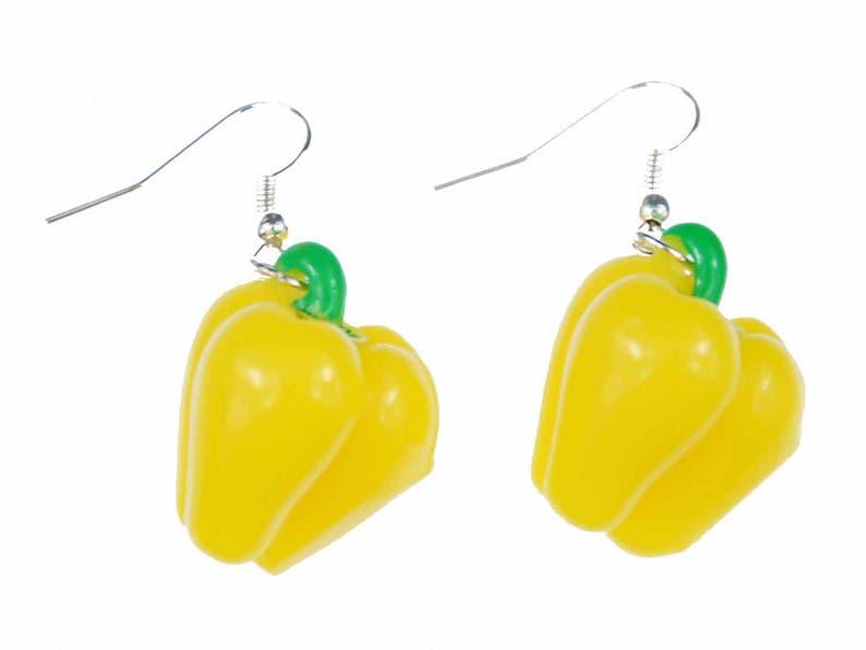 Paprika Earrings Miniblings Sweet Peppers Health Cooking Yellow