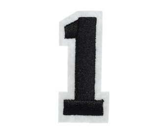 Iron On Patch One Number College Miniblings White Black Press Ironing Numbers 1