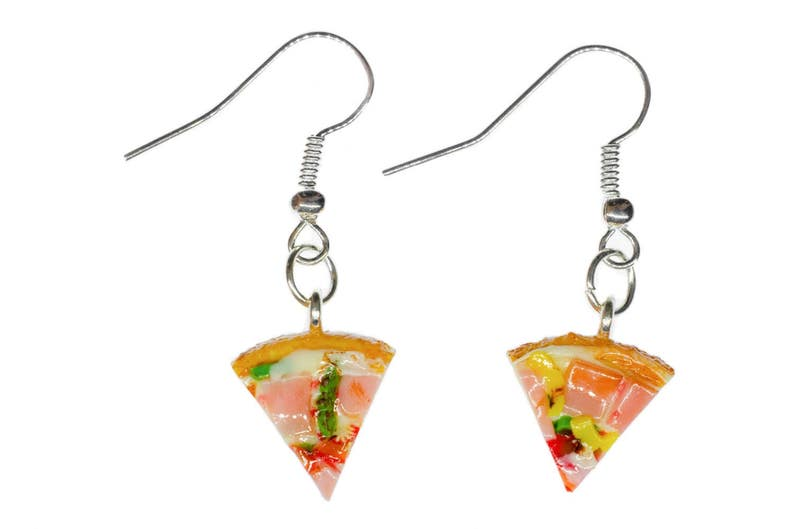 Pizza Earrings Miniblings Pizza Piece Of Ham Dinner Detail Colorful