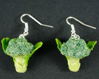Broccoli Earrings Miniblings Veggie Vegetarian Vegetable Cabbage Green