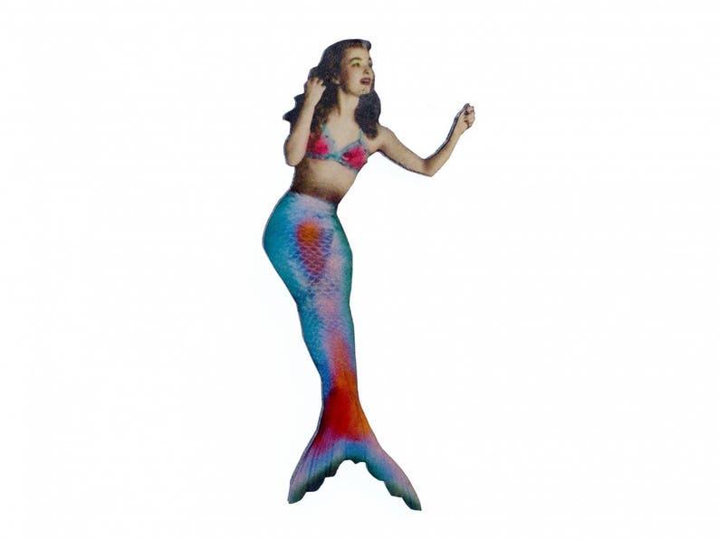 Mermaid Brooch Miniblings Wooden Nixie Wood Laser Cut LC 80mm Broach Atlantis
