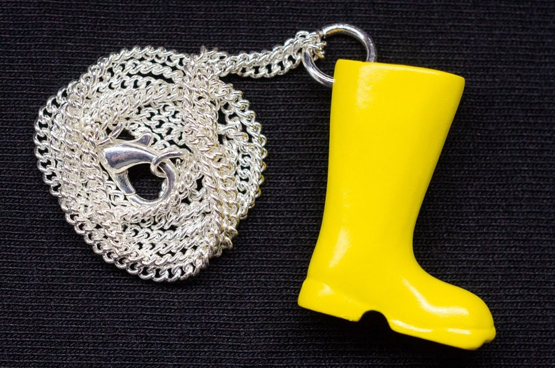 Yellow Rubber Boots Necklace Miniblings 45Cm Garden Rainy Weather Rain