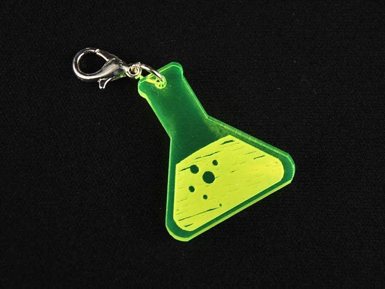 Test Tube Piston Acrylic Charm For Bracelet Wristlet Miniblings Laboratory Chemistry Neon Green