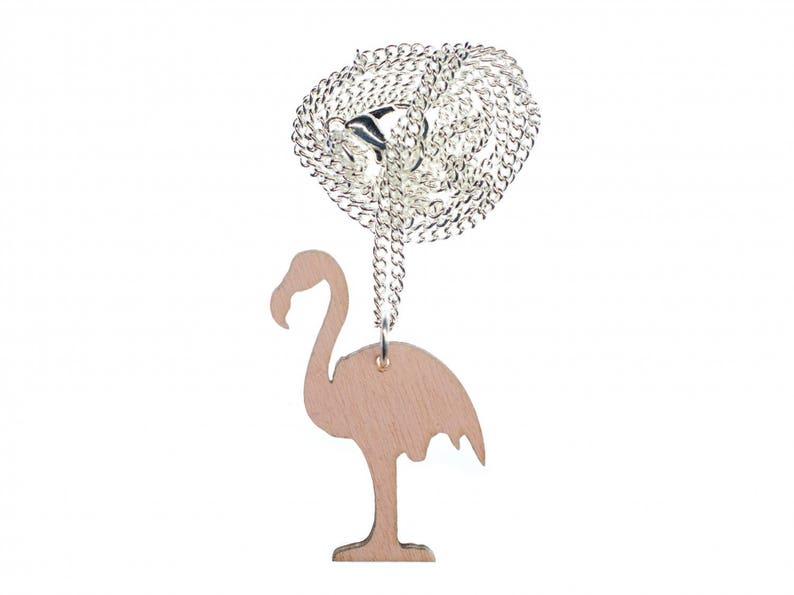 Wooden Flamingo Necklace Miniblings Bird Birds Exotic Pink 45Cm Wood