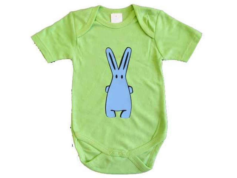 Baby Child Children One-Piece Rompers Oncie Kalle Fux Hand Printed Green Hase Blue Size74