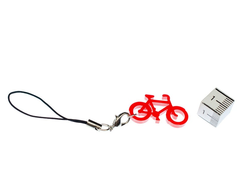 Wheel Bike Mobile Phone Charm Pendant Miniblings Cycling Red Bicycle Bicycles LC