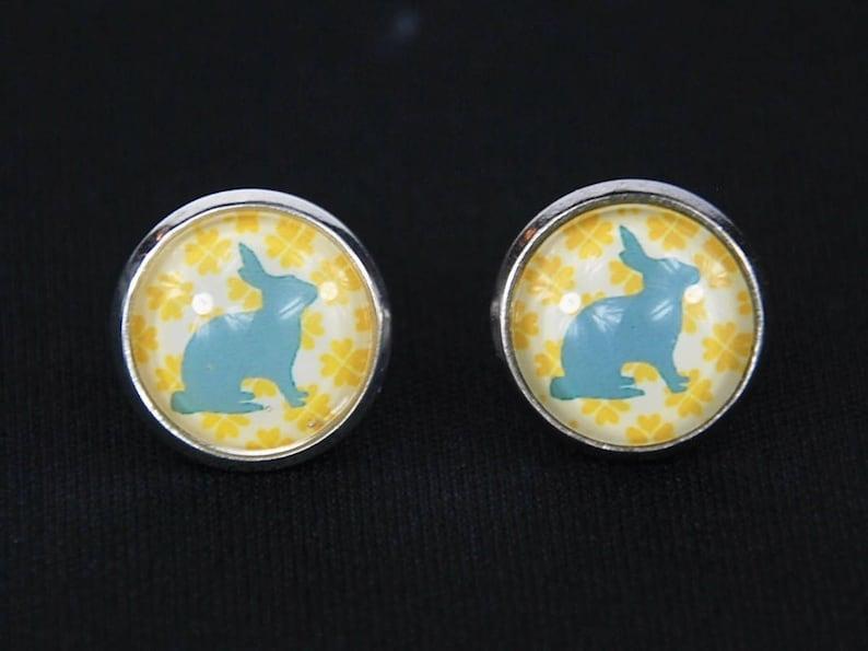 Rabbit Pattern Pattern Cabochon Earrings Ear Studs Earstuds Miniblings Rabbit Turquoise Yellow