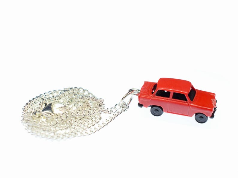 Trabi Necklace Trabant DDR Vintage Retro Car Silver Plated Miniblings Red