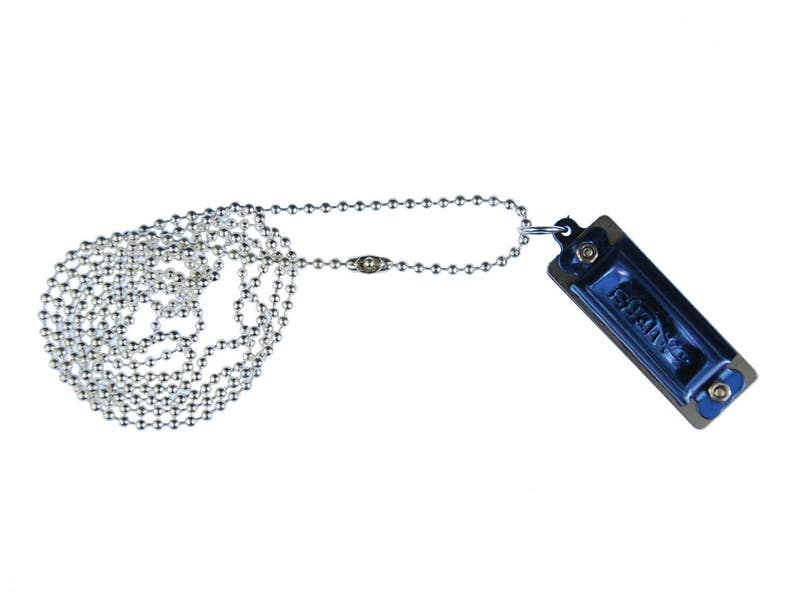 Blue Harmonica Necklace Playable Miniblings 80cm Musician Musik Ball Chain